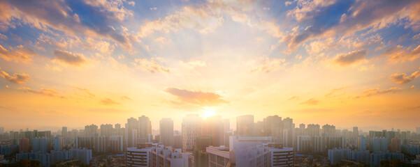 Fototapeta City day concept: Beautiful sunset sky over city obraz