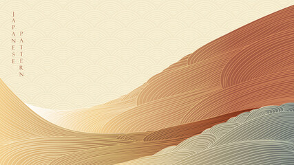 Mountain forest background with line pattern vector. Abstract  landscape banner design with hand draw wave decoration in vintage style.