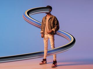 Stylish man with long fluid flood on gradient background. Negative space to insert your text....