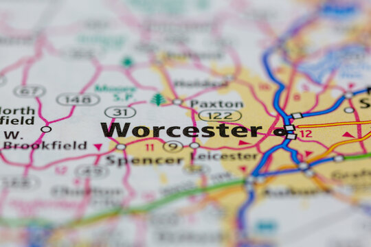 04-30-2021 Portsmouth, Hampshire, UK, Worcester Massachusetts USA Shown on a Geography map or road map