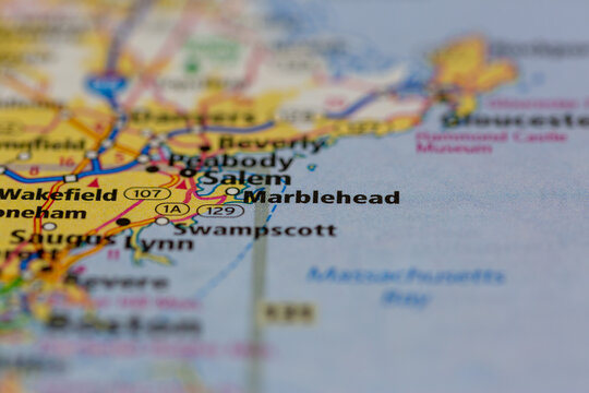 04-30-2021 Portsmouth, Hampshire, UK Marblehead Massachusetts USA Shown on a Geography map or road map