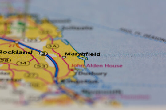 04-30-2021 Portsmouth, Hampshire, UK, Marshfield Massachusetts USA Shown on a Geography map or road map