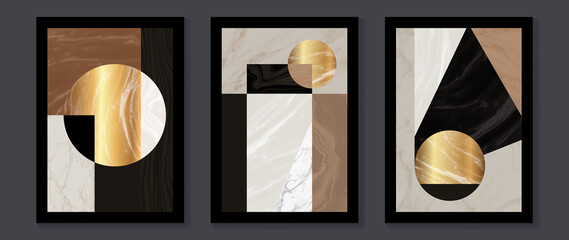 Obraz Abstract Math art background vector. Modern block color art wallpaper. Geometric marbling gold style texture. Cubism slow-poly backgrounds. Good for home deco, wall art, poster, invite and cover. - fototapety do salonu