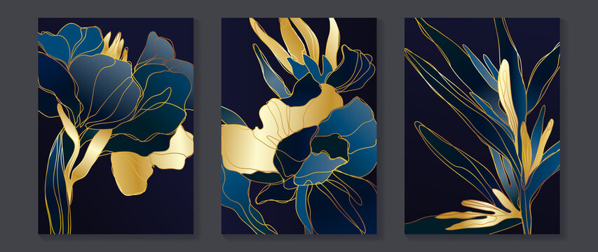 Abstract flower Math art background vector. Modern block color art wallpaper. Geometric marbling gold style texture. Cubism slow-poly backgrounds. Good for wall art, poster, invite and cover.