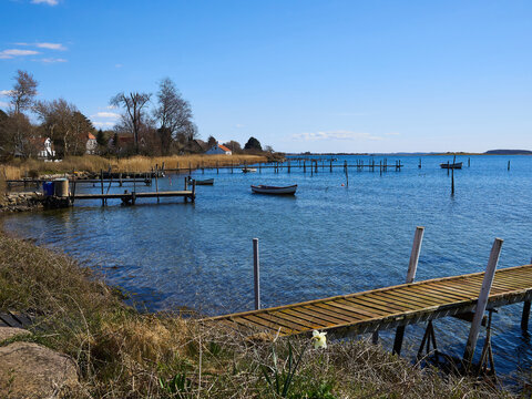 Small wooden pier jetty in  Funen Denmark