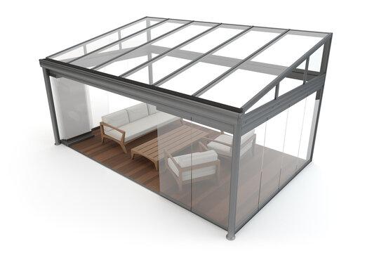 Terrace canopy - winter garden, isolated on white, 3d illustration