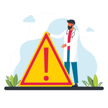 a doctor stands in front of a large warning sign. a doctor in a white coat warns of danger. concept of medicine and human protection. vector illustration