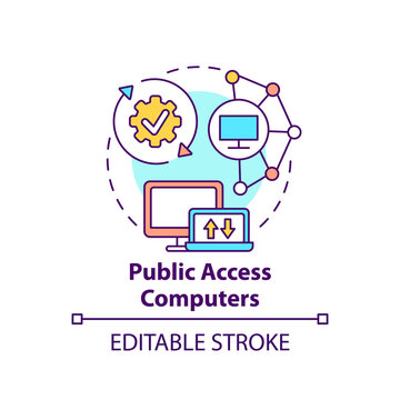 Public access computers concept icon. Accessible technology. Open network. Digital inclusion improvement idea thin line illustration. Vector isolated outline RGB color drawing. Editable stroke