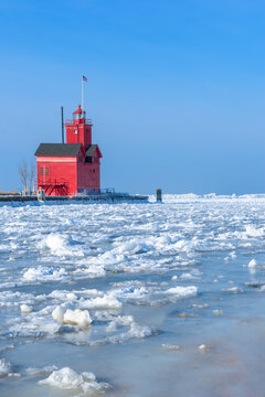 Big Red Lighthouse in Winter, frozen channel