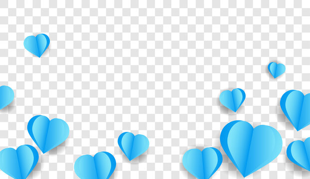 Paper elements in the shape of a heart flying on a png background. Hearts for Father's Day.