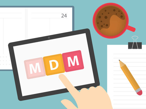 hand touching tablet screen with MDM (Mobile Device Management) button - vector illustration