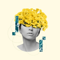 Modern design, contemporary art collage. Inspiration, idea, trendy urban magazine style. Female beauty portrait with flowers on pastel background