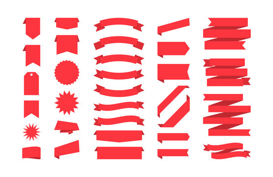 Ribbons collection isolated on white. Set of red banners, badges, and tags. Vector illustration