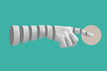 Obraz Digital collage modern art. Hand pointing finger - fototapety do salonu