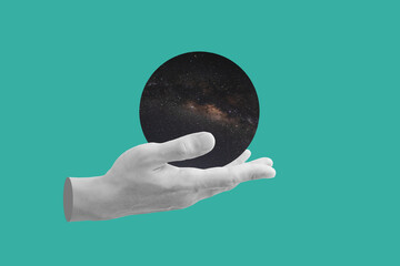 Digital collage modern art. Hand holding circle space