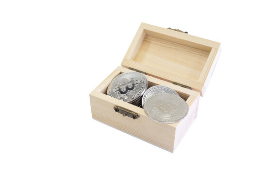 Bitcoin coin with wooden box