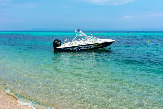 Boat on Platanitsi beach of Sithonia peninsula, Chalkidiki, Greece