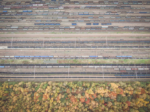 Autumn forest and railway depot directly above perspective aerial view