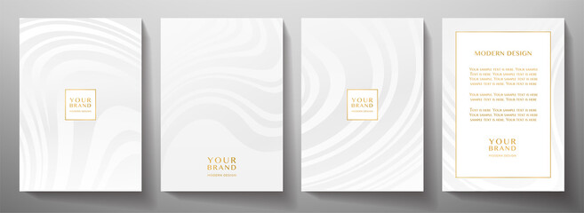 Fototapeta Modern white cover, frame design set. Abstract wavy line pattern (curves) in monochrome. Creative stripe vector collection for business background page, brochure template, booklet, vertical flyer obraz