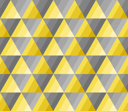 Yellow and gray gradient triangle shape. Seamless abstract background pattern. Color trend 2021. Textured design for fabric, tile, cover, poster, textile, flyer, wall. Vector illustration.