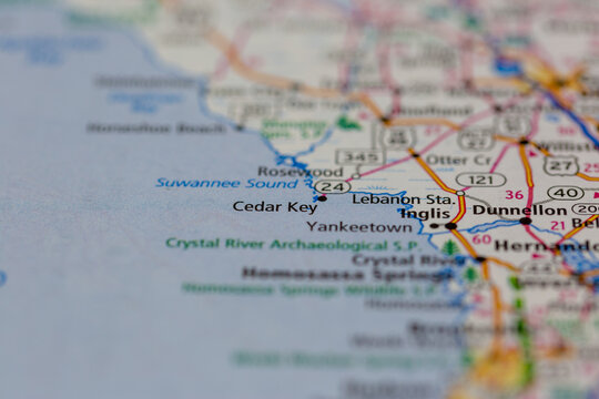 04-30-2021 Portsmouth, Hampshire, UK, Cedar Key Florida USA Shown on a geography map or road map