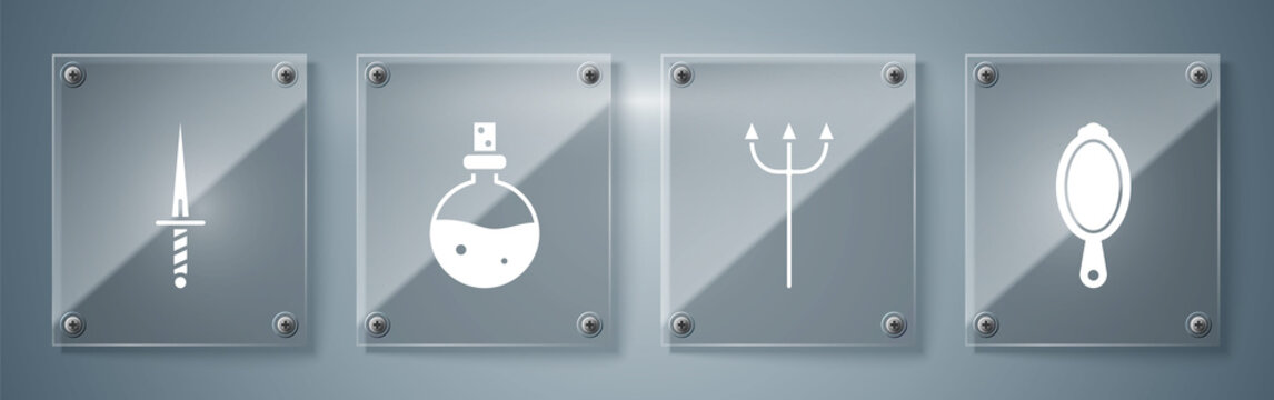 Set Magic hand mirror, Neptune Trident, Bottle with love potion and Dagger. Square glass panels. Vector