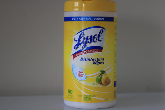 London Canada, April 14 2020: Editorial illustrative photo of Lysol cleaning wipes. Lysol is a leading brand of disinfectant.