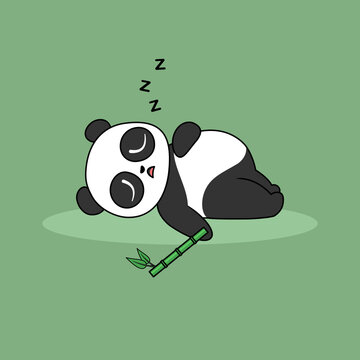 Lazy panda sleeping with his bamboo cartoon icon, vector illustration