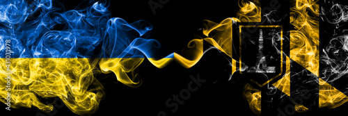 Ukraine, Ukrainian vs United States of America, America, US, USA, American, Baltimore, Maryland smoky mystic flags placed side by side. Thick colored silky abstract smokes flags.