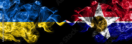 Ukraine, Ukrainian vs United States of America, America, US, USA, American, Dallas, Illinois smoky mystic flags placed side by side. Thick colored silky abstract smokes flags.