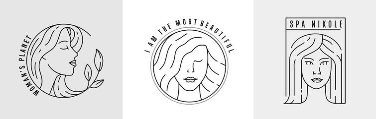 Obraz Logo woman face line vector. - fototapety do salonu