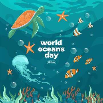 World oceans day 8 June. Save our ocean. Sea turtle, jellyfish and fish were swimming underwater with beautiful coral and seaweed background vector illustration.