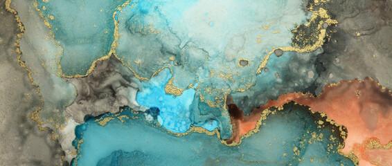 Art Abstract painting blue and gold blots background. Alcohol ink colors. Marble texture.