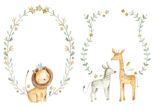 Safari animals watercolor templates illustration for nursery and baby shower with lion, giraffe and zebra