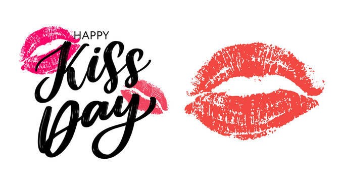 Kiss me greeting card, poster with pink hand drawn watercolor lips. Vector background with ink hand lettering.
