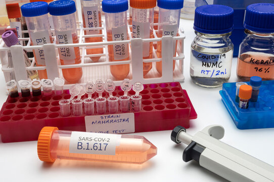 Investigation of new Sars-Cov-2 variant in India called B.1.617 in laboratory, strains from Kerala and Maharastra, conceptual image.