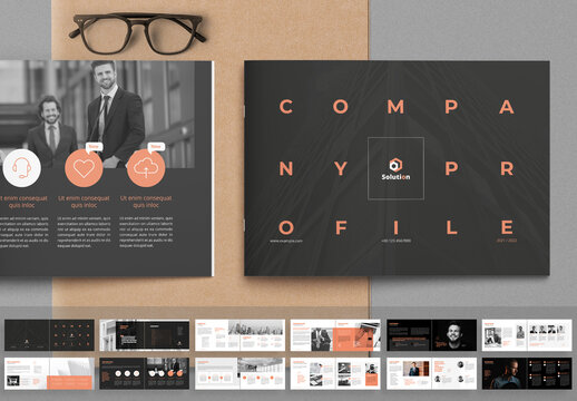 Company Profile Landscape Layout with Peach Accents