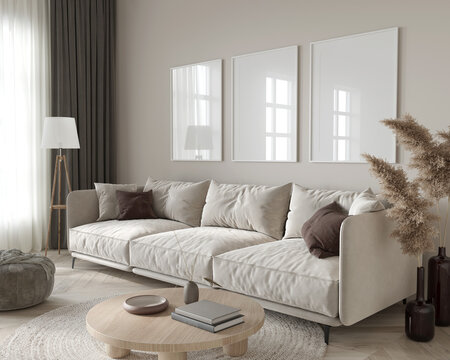 Living room interior in beige colors with three big whit fram…