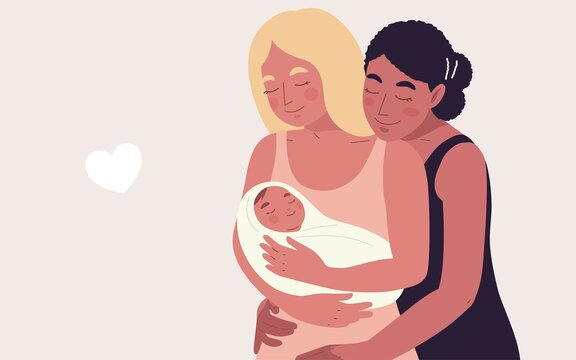 Portrait two mom women, Asian and Caucasian black hair, embracing their newborn baby. Vector illustration concept women's and LGBTQ rights, diverse family, multi-ethnicity, mother's day, baby shower