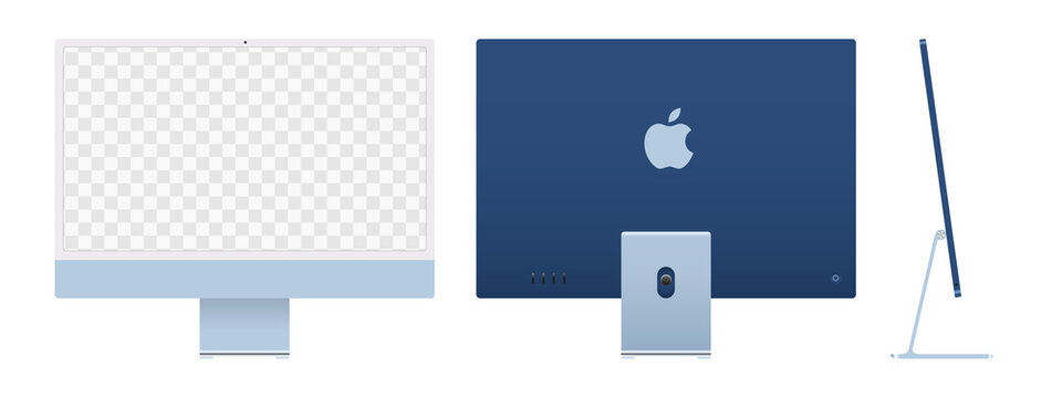 Realistic mockups of the new iMac 24 with transparent screen, blue color on an isolated background. Apple iMac set. Front, back and side views. Vector EPS 10