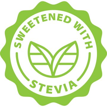 sweetened with stevia green stamp badge outline icon label