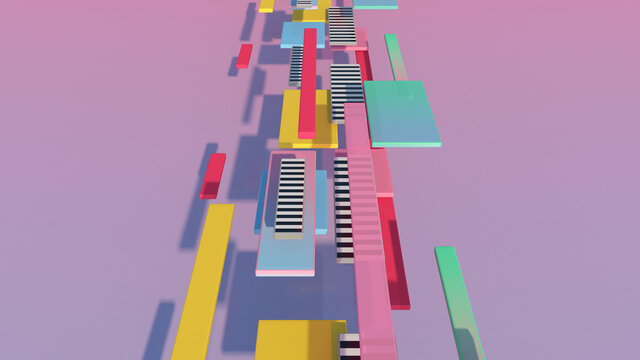Colorful blocks flying. Abstract illustration, 3d render.