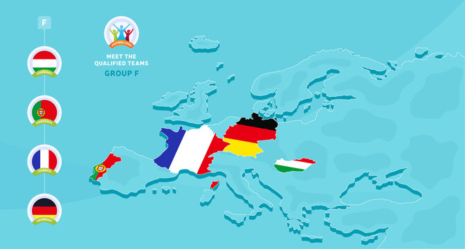 Group F European 2020 football championship Vector illustration with a map of Europe and highlighted countries flag that qualified to final stage and logo sign on blue background