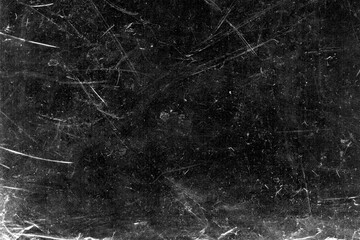 Obraz White scratches and dust on black background. Vintage scratched grunge plastic broken screen texture. Scratched glass surface wallpaper. Dirty Blackboard. Space for text. - fototapety do salonu