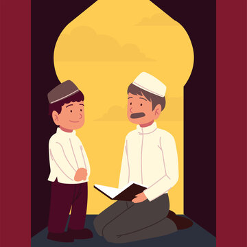 muslim father and son praying