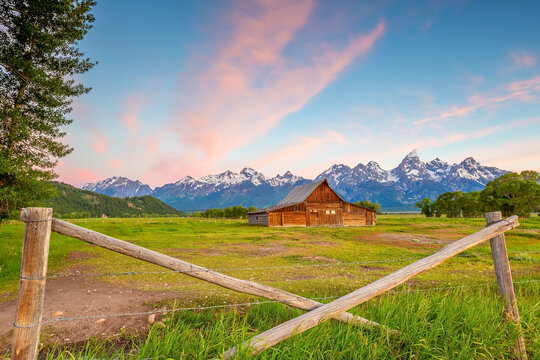 The abandoned barn in the Mormon Row, Wyoming with Grand Tetons view.