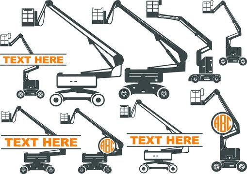 Cherry Picker, Cherry Picker icons, Cherry Picker Vectors, Bucket Truck, boom lift, man lift, basket crane or hydraladder