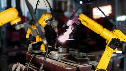 Smart industry robot arms modernization for digital factory technology . Concept of automation...