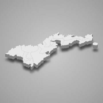 3d isometric map of American Samoa, isolated with shadow