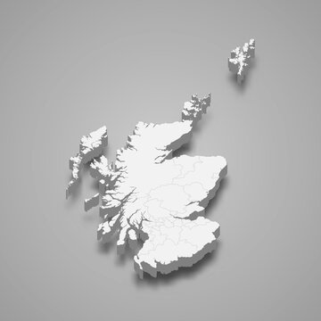 3d isometric map of Scotland, isolated with shadow